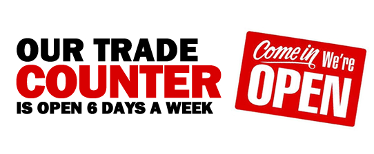 our trade counter is open 6 days a week for building products products
